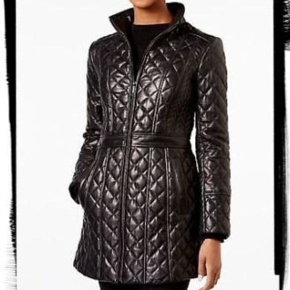 88fcdfa7a JONES NEW YORK quilted leather coat M